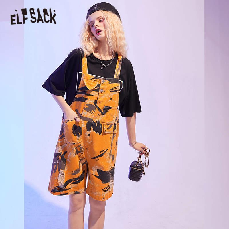 Women's Jumpsuits & Rompers ELFSACK Yellow Graphic Oversize Casual Women Overall Denim Jeans 2021 Autumn ELF Pocket Straight Korean Ladies D