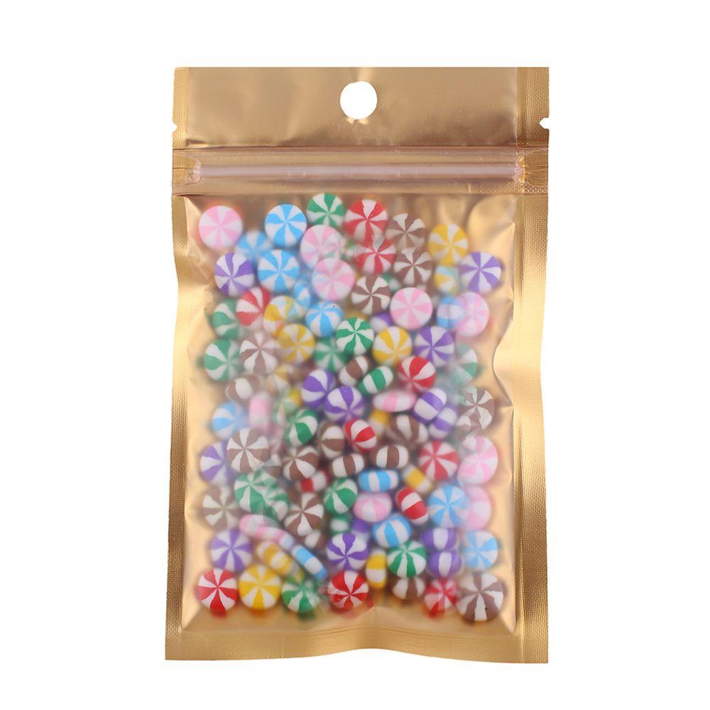 100pcs Multi Größen Reclosable Clear / Gold / Silber Mylar Zip-Verschluss Paket-Beutel Lebensmittel Kaffeebohne Lagerung Verpackungs-Beutel mit Handloch