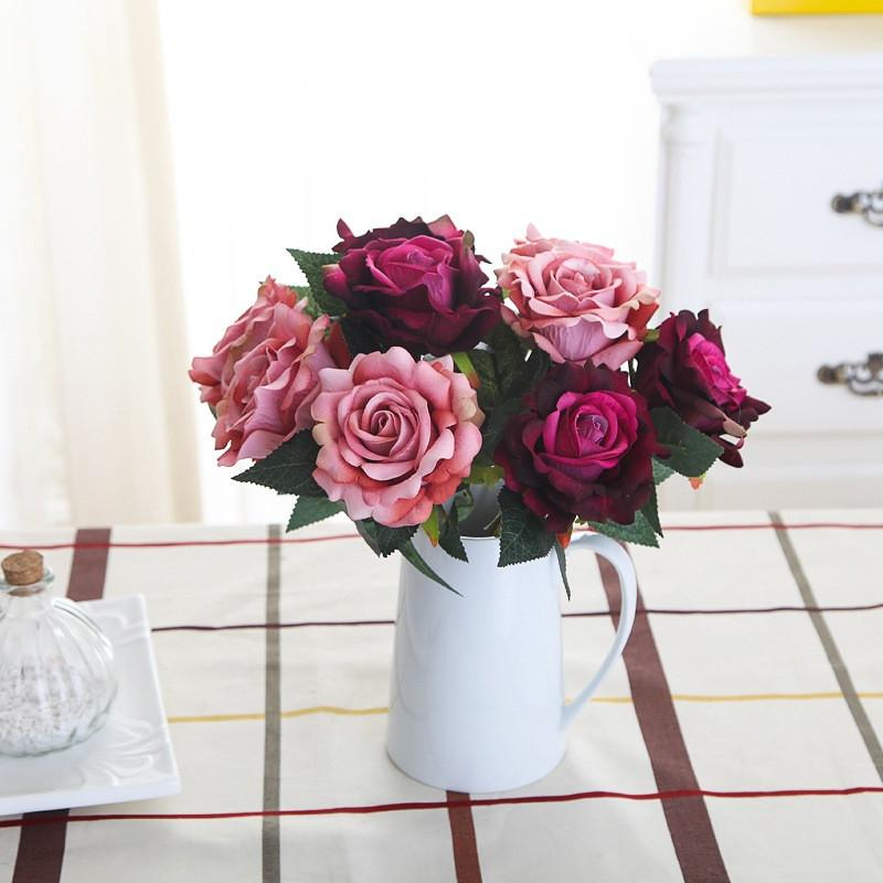 Бесплатная доставка Свежих роз Искусственные цветы Real сенсорных розы Цветы украшения для свадебного банкета или дня рождения
