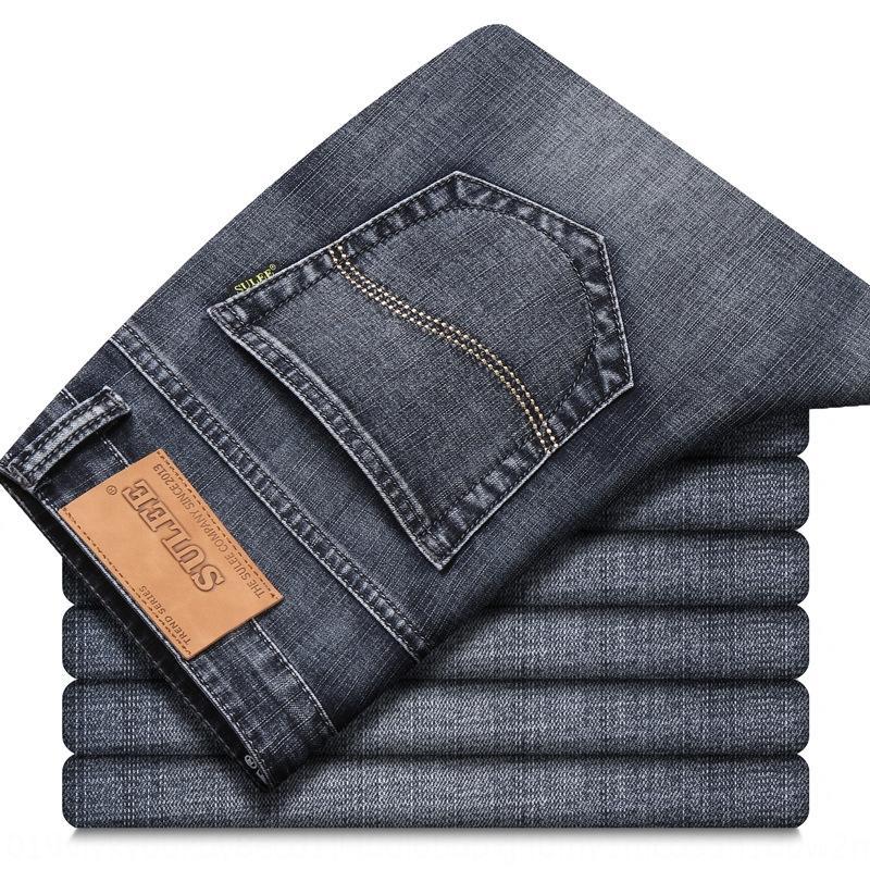 1yZc1 gama alta pantalones vaqueros rectos y los pantalones vaqueros de los hombres de verano para jóvenes Sulee delgada elástico gris pantalones casuales flojos ocasionales