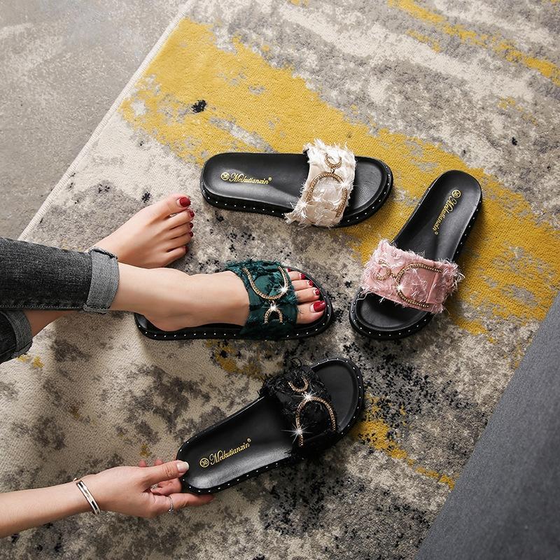 di gITue Donne suola spessa estate 2020 nuovo stile coreano del tutto-fiammifero alla moda di grandi dimensioni 41-43 e sandali sandali grasso piedi usura esterna per wo