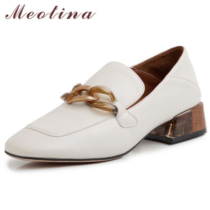 Meotina High Heels Femmes Pompes Naturel Cuir véritable Cuir épais Mockers Chaussures Chaussures Cuir Cuir Toe Toe Chaussures Dames Taille 33-40 LJ200828