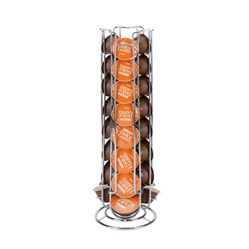 Eisen-Chrom-Überzug-Anzeigekapselhalter Drehbare Coffee Pod Halter stehen Abstellflächen für 24X Dolce Gusto Kapsel