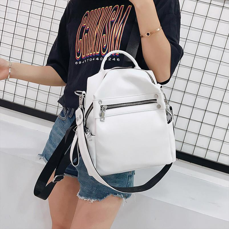 Mulheres Backpack Feminino 2020 Designer PU Leather Mochilas Moda multifuncional Ladies pequena mochila Travel Bag para a menina Satchel