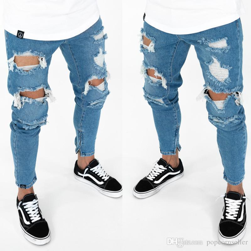 Pantaloni casual Uomo Abbigliamento Uomo strappato Designer matita Jeans Moda Mid Gambe Cerniera per pantaloni Magro