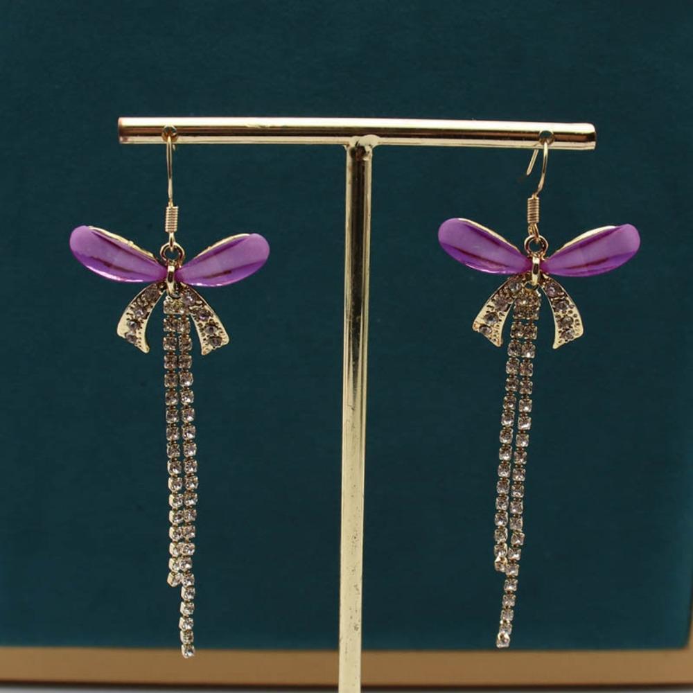 kA1sf S925 farfalla d'argento e rosso netto lungo nappa linea con orecchio giapponese e moda semplici orecchini di temperamento farfalla coreano gi