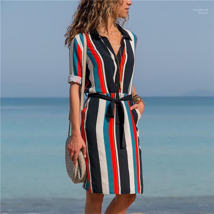 Платье конструктора женщин карманные вскользь с длинным рукавом декоративный узор печати рубашка платье отпуск Стиль шифон
