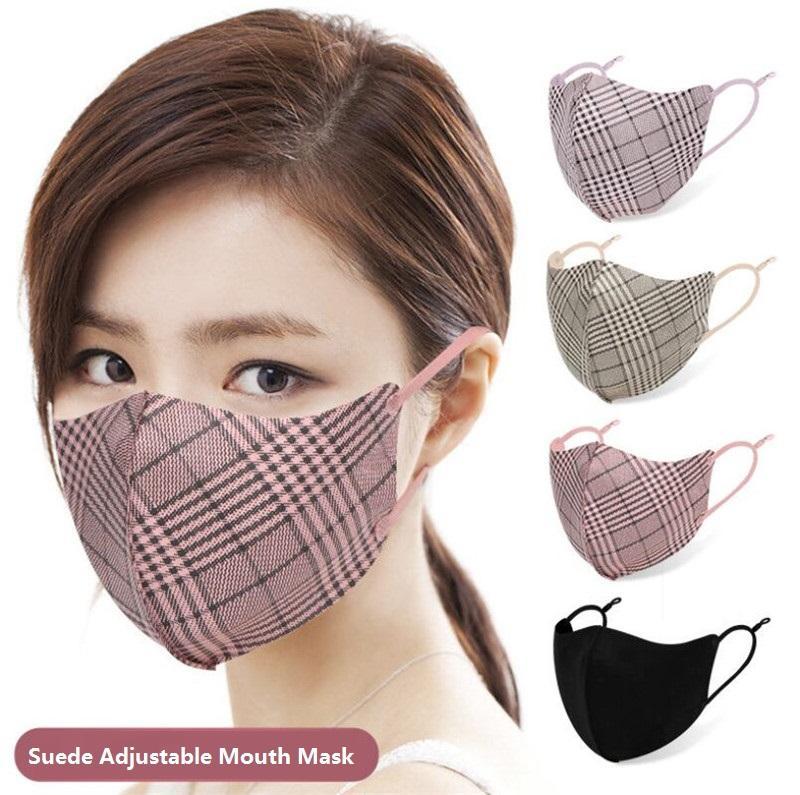 Automne Hiver Suede bouche réglable Masque Mode Stripe Imprimé Lattice unisexe réutilisation Masques visage 6 couleurs