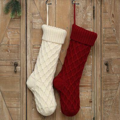 Navidad acrílico calcetines de punto blanco verde rojo gris Knitting Stocking árbol de navidad que cuelgan del partido de Navidad del calcetín del regalo del caramelo medias EEA1872