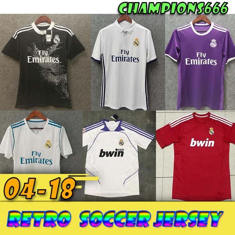 produits rétro !!! 04-18 réel Madrid Ligue des Champions trois fois de suite RONALDO Black Dragon chinois Zidane Plusieurs versions de maillot de football