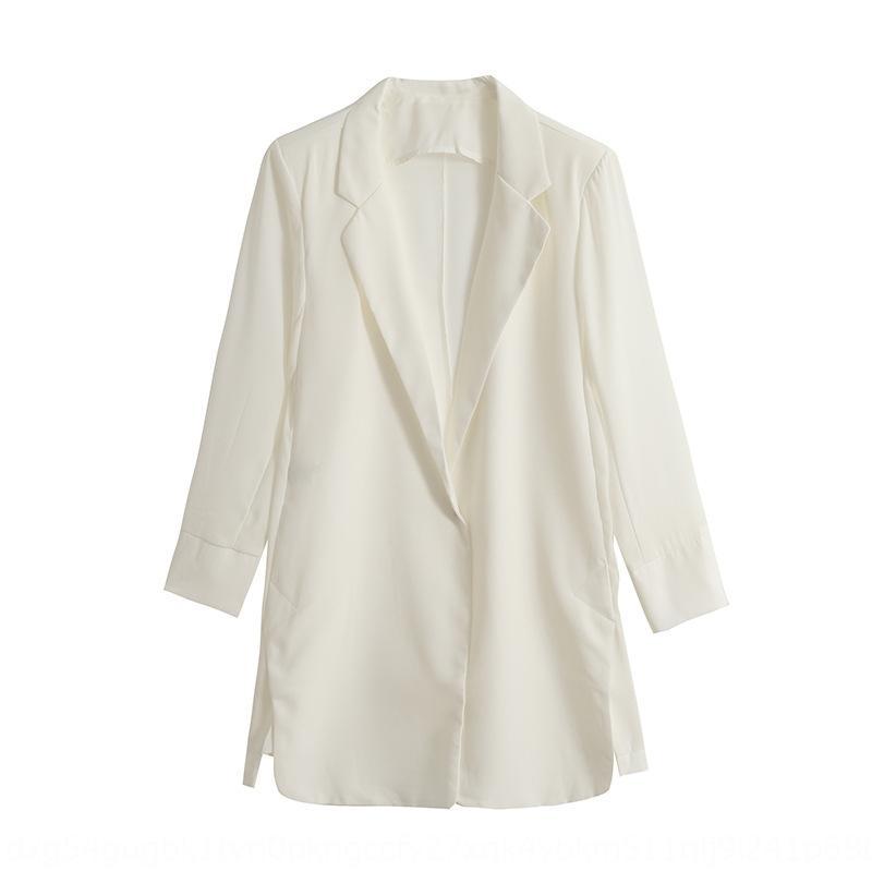 REvuY 2020 весной и летом новый корейский стиль простой тонкий шифон женская куртка костюм куртка малых костюм