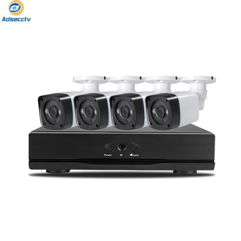 نظام أمن الوطن 4CH HD-TVI AHD 5M-N DVR 4PCS 5MP للرؤية الليلية المراقبة في الهواء الطلق أطقم كاميرا للماء