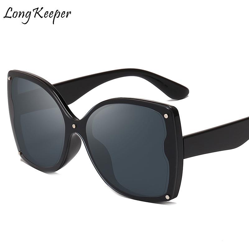 LongKeeper gran tamaño del gato ojo gafas de sol de las mujeres 2020 Primera marca del ojo de gato Gafas de sol de lujo Mujer Sombras de conducción Eyewear UV400