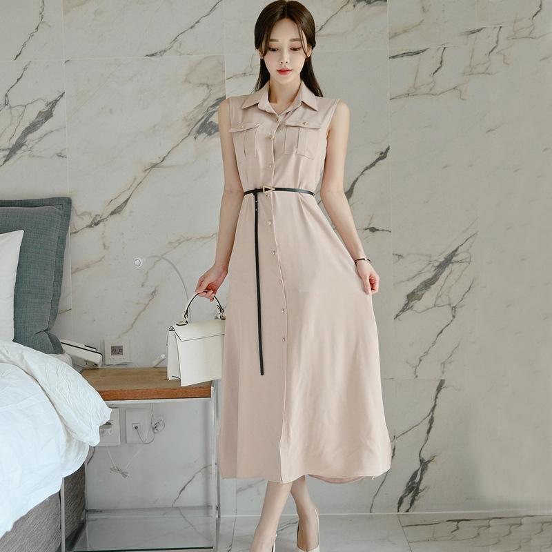 vestido largo de las mujeres del vestido 2020 nuevo diseño elegante camisa falda larga falda sentido nicho ligera camisa de la cintura del verano de adelgazamiento