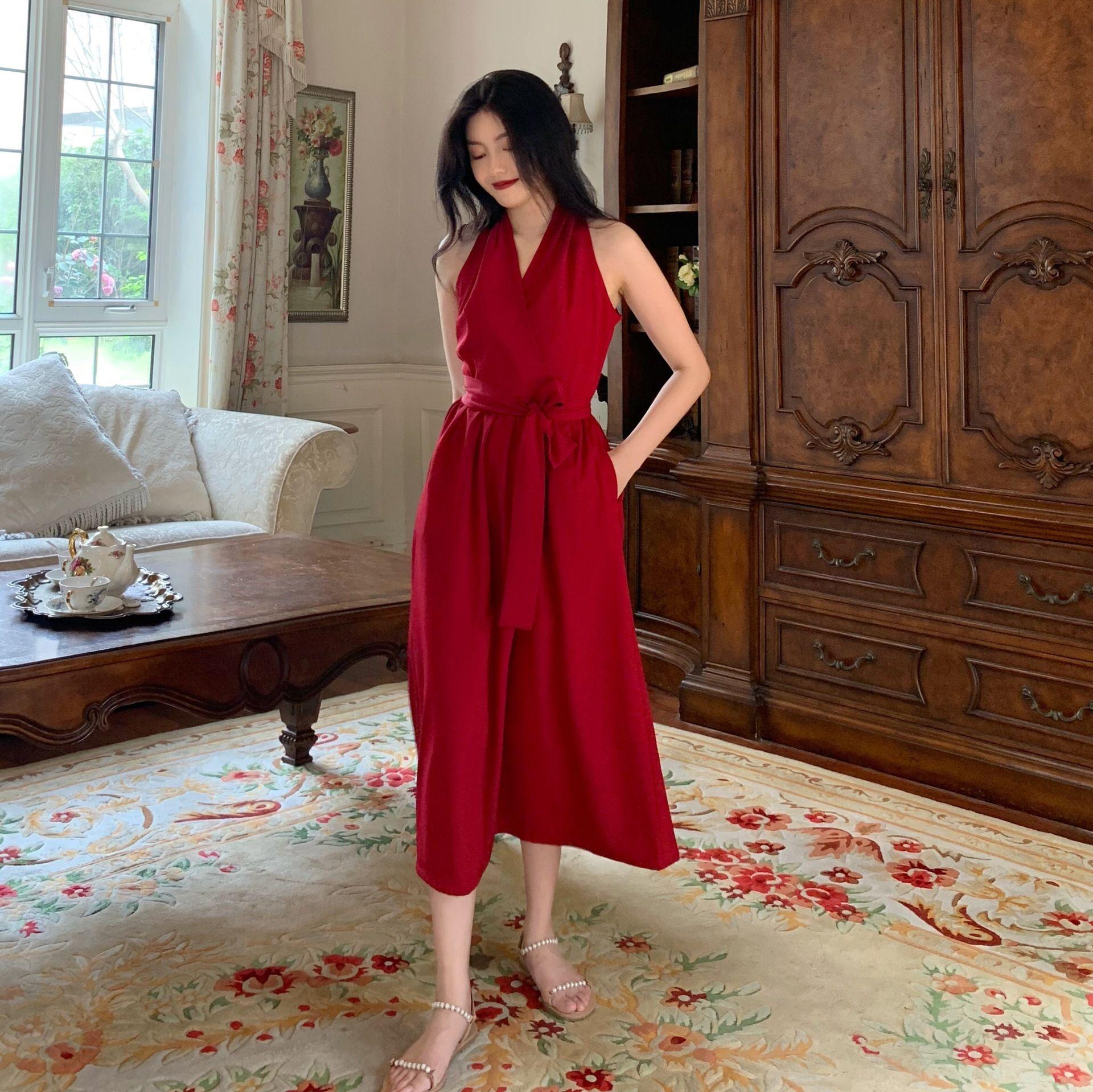 WoruU 8bsfW Französisch-Stil Sommer Taille schlank Hepburn erste Liebe Kleid Super-Fee-Design-Stil Kleid elegant und reifen Formal