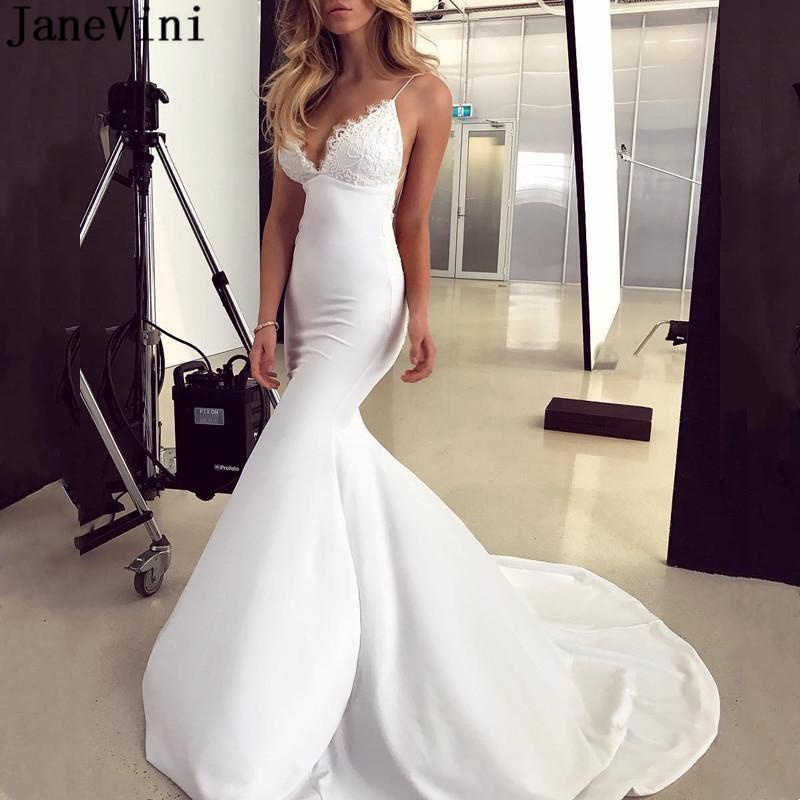 JaneVini Robe Satin Longue Sexy Mermaid Wedding Dresses Lace Appliques Backless Long Train Boho Bride to be Bridal Gowns 2021