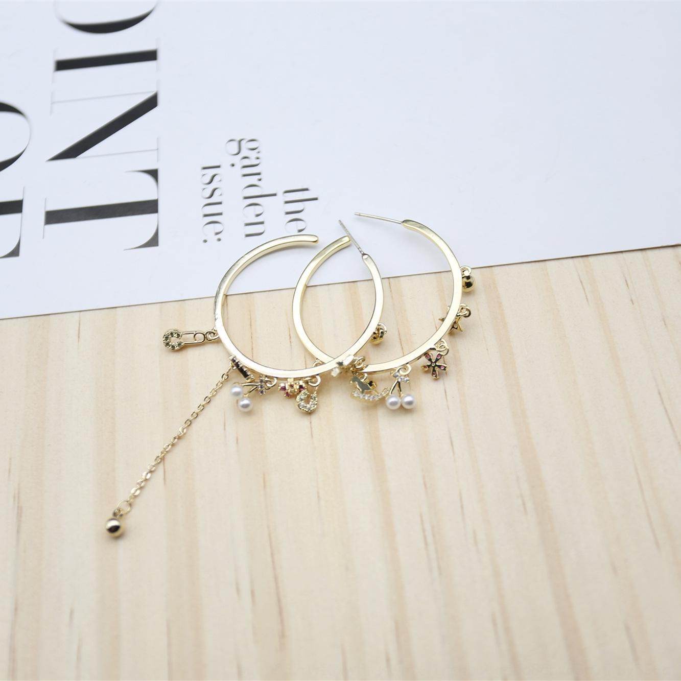 gioielli di perle tondo perla orecchini fiore stella orecchini piccoli animali micro-intarsi personalità della moda zircone femminile S925 je argento