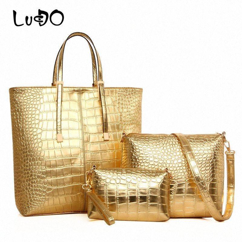 LUCDO 3pcs / set de hombro grande capacidad de la bolsa para las mujeres oro de la manera de piel de cocodrilo bolso de la señora de oro grande de plata bolsa de asas KK1N #