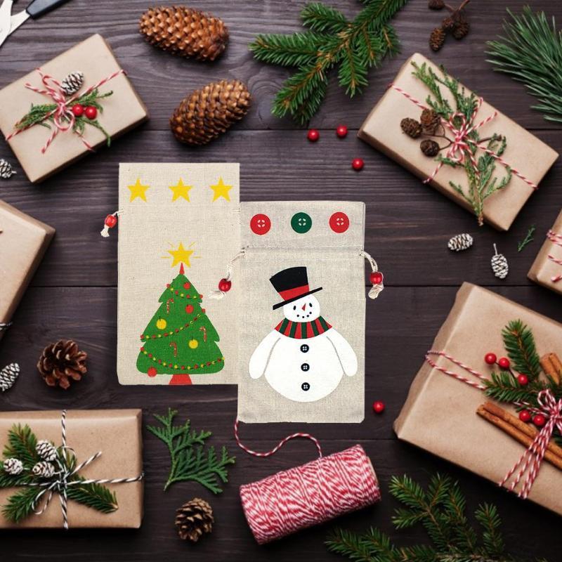 Noël Sacs cadeaux réutilisables Drawstring Sacs avec cordon de serrage de grande taille Emballage cadeau Sac Cadeau