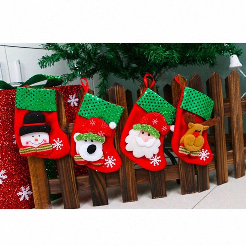 5 Pcs meia do Natal Decoração Papai Noel Boneco Elk Urso Meias Christmas Gift Bag Hanging Tree Ornaments 5ZDZ671 EQES #
