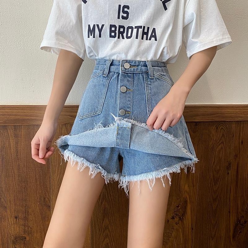 estudante linha denim saia single-breasted Vestido Denim wRpK0 Um alto verão da cintura de emagrecimento versátil pants- vestido das mulheres da saia das mulheres