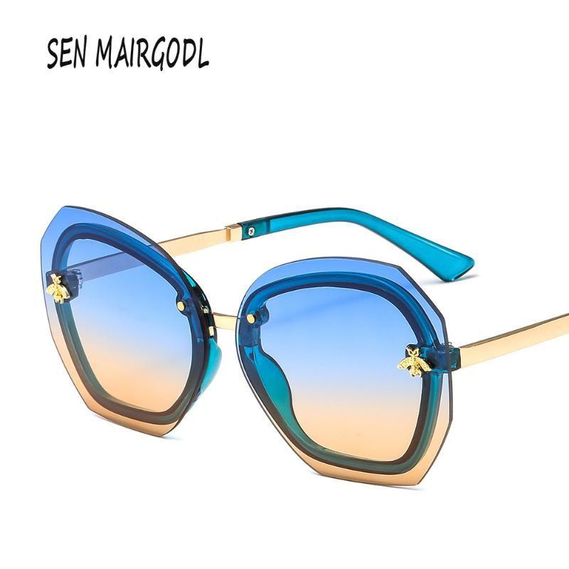 Lunettes de soleil Classic Abeille sans cadre Femmes Hommes Grand Cadre Design de luxe Lunettes de soleil 2021 irrégulier biseauté UV400