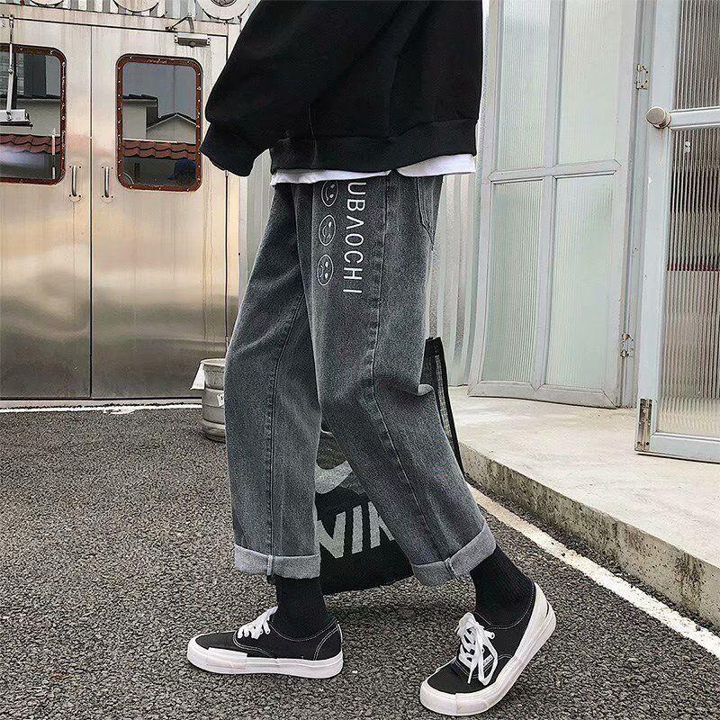 estilo Jeans largas calças X9ZSr YTAkh perna verão calças de brim frouxas dos homens da moda calças até os tornozelos dos homens coreanos e reto moderno e Primavera todos-