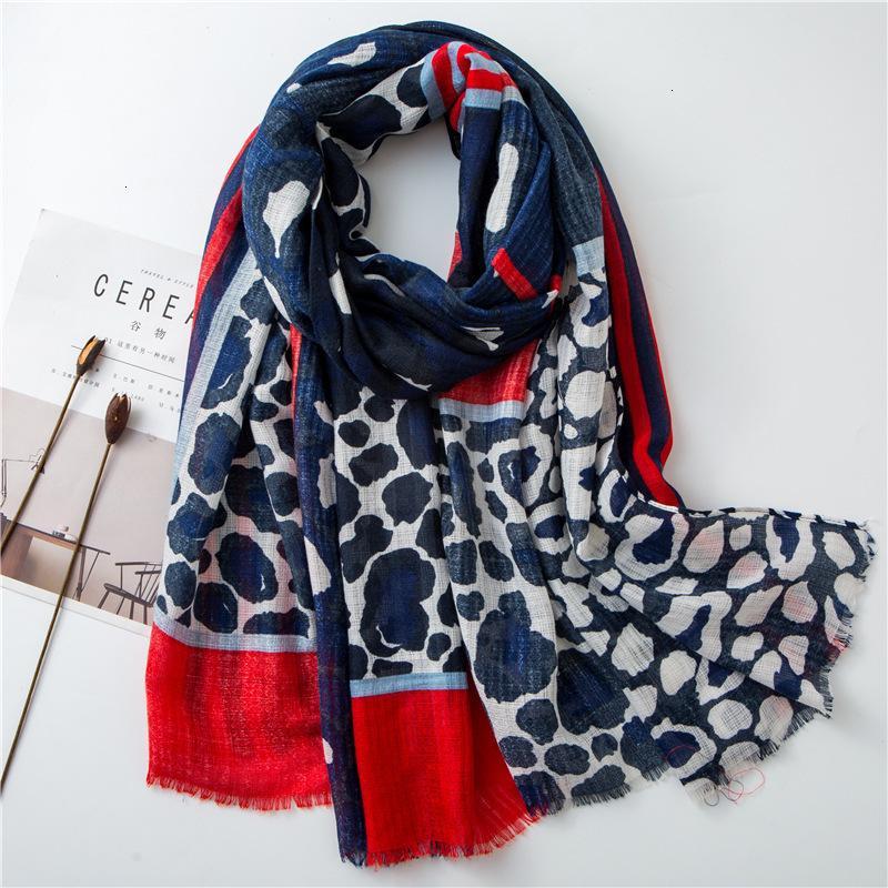 Cotton Scarf Woman Vivid Jump Xia Baida Navy Blue Leopard Print Stripe Flash Long Fund Shawl Dual Purpose Hot