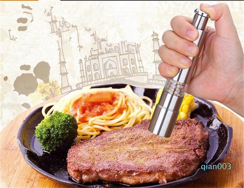 Кухня Столовая Бар из нержавеющей стали Thumb Нажмите Соль Перец Grinder специй Соус мельница Grind Стик Tool