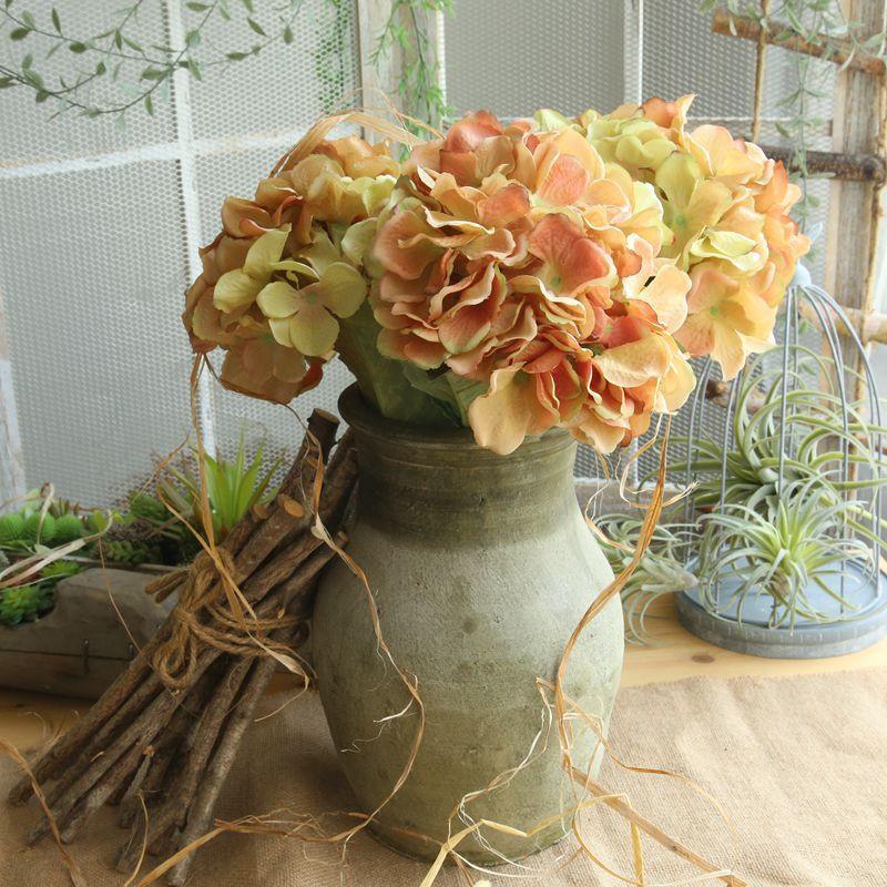 54cm 6 colori di seta fiori artificiali Ortensie damigella d'onore nuziale Bouquet seta fiore artificiale per la decorazione di cerimonia nuziale della festa
