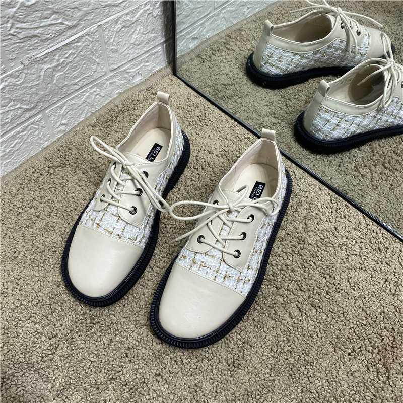 DEAT 2020 Nouveau Printemps Automne Mode casual lacets talon bas à tête ronde Solide Couleur Chaussures en cuir simples femmes SE800