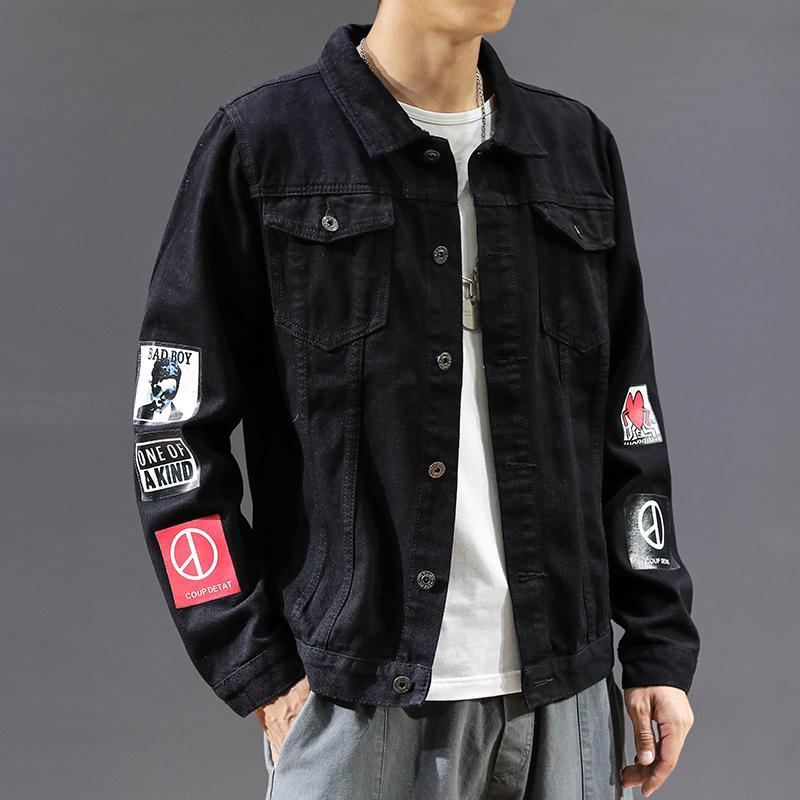 2020 весной новые люди высокого качества джинсовой куртки мужские случайные уличной хип-хоп Тонкий пилот куртки большого размера джинсовые
