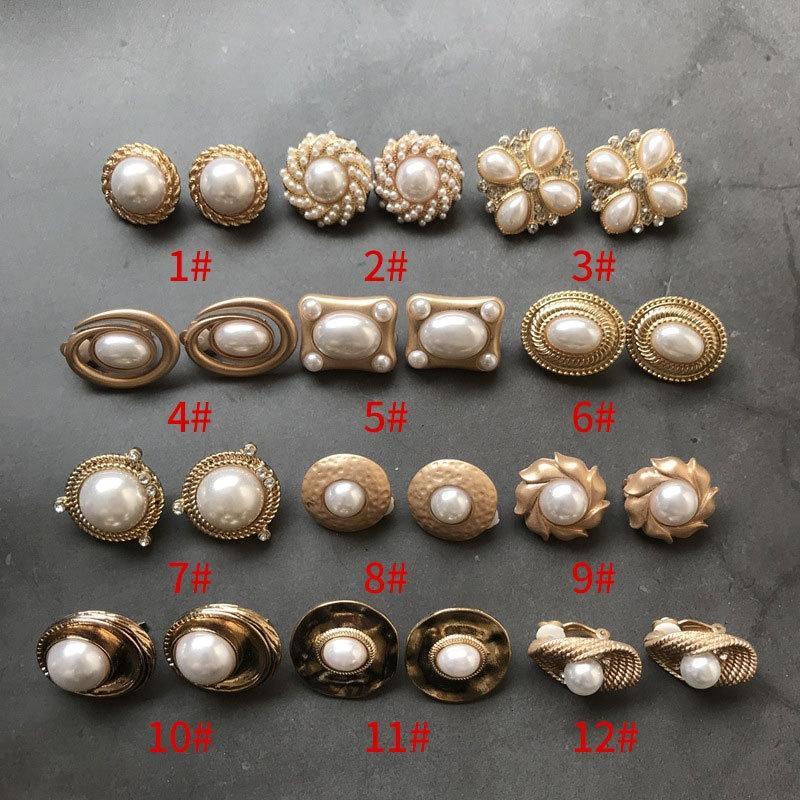 FASHION plaqué or série perles perles perles perles boucles d'oreilles en alliage classique clips oreilles C7rs5