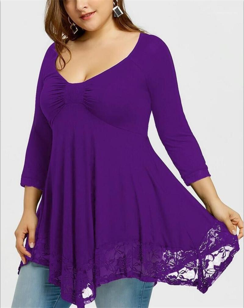 De manga larga con cuello en V vestidos de encaje más el tamaño ocasionales de las mujeres ropa de verano para mujer vestidos de diseño color sólido