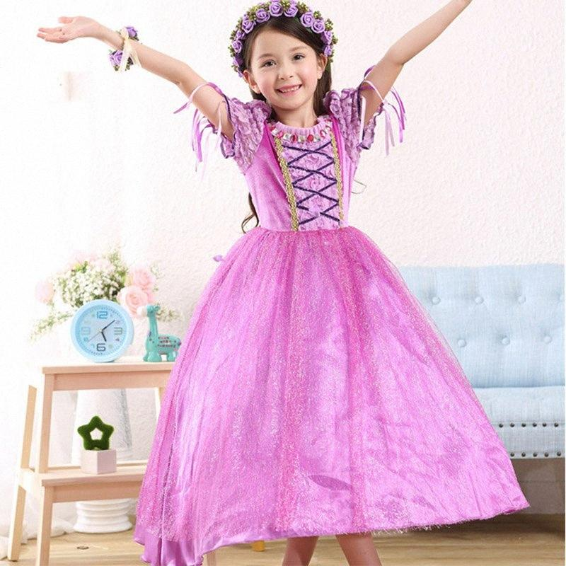 Filles Costume Princess Dress For Kids Halloween Tangled Rapunzel lacent Robe Violet robe de soirée de Noël Vêtements HH7-1409 Christening RLeY #