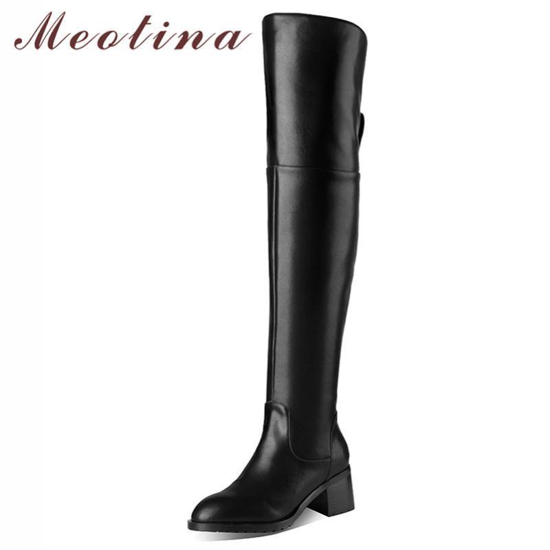 Meotina invierno de alta del muslo botas de cuero auténtico mujeres natural grueso del talón sobre la rodilla patea cremallera del dedo del pie zapatos de las señoras Tamaño Ronda 39