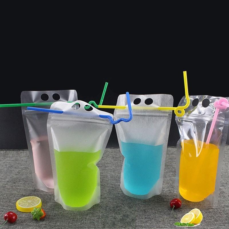 من البلاستيك الشفاف شينغ مختومة النفس! سترو الحليب على نمط 500ML شرب عصير لمعالجة دي إتش إل المشروبات والتغليف الحقيبة و4 ثقوب bbyXr