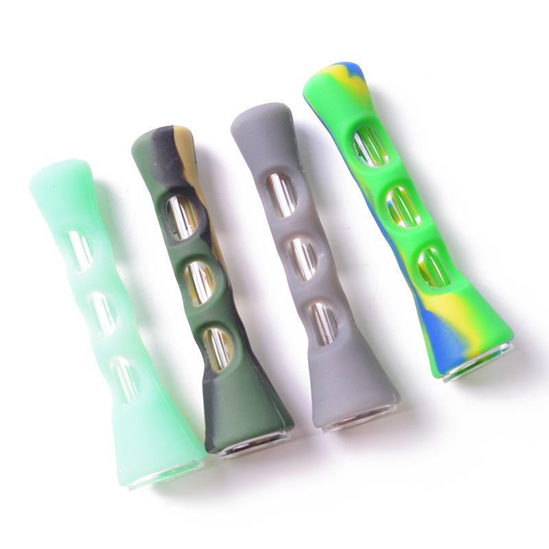 Tubos de silicona con forma de cuerno portátil colorido Pipas camuflaje de cristal de longitud de 3.3 pulgadas de Ministerio del Interior del cigarrillo Accesorios VT1721