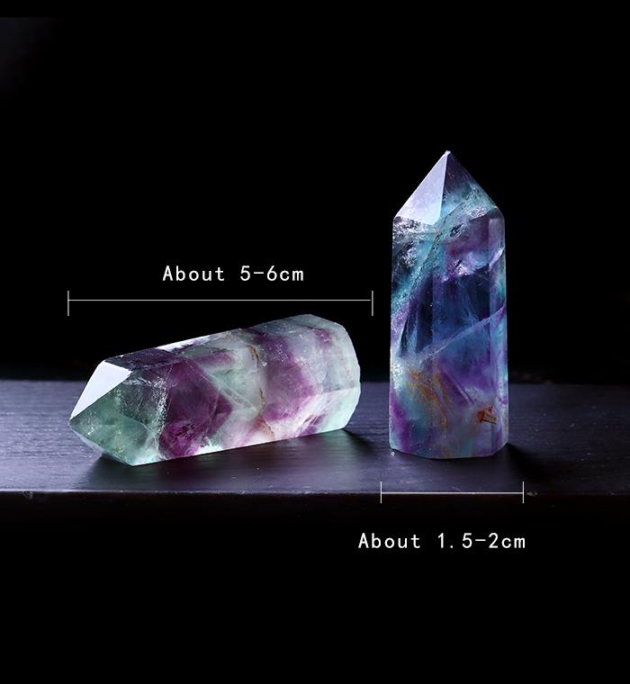 Naturel fluorite Hexagonal Colonne Cristal Point de guérison Baguette minérale Cristal Décoration d'étude Pierre Décoration Chambre