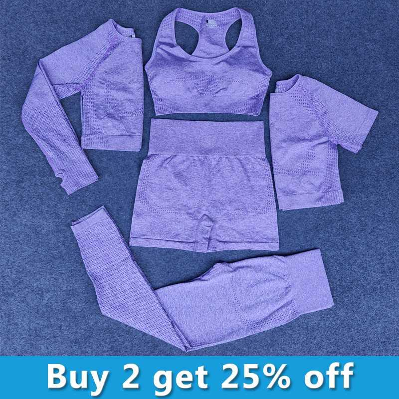 2020 Les femmes sans couture yoga 5PCS mis Suits Fitness sport Yoga GYM tissu Chemises taille haute marche Leggings Vêtements d'entraînement