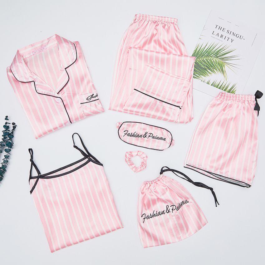 Otoño Primavera 7 jugadas elegante de seda pijamas de las mujeres pone en cortocircuito raya de manga larga Tops Pantalones de cintura elástica completa Salón ropa de dormir