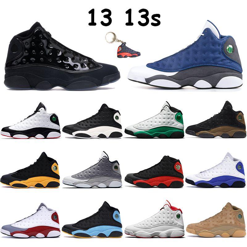Новые 13 13s Jumpman баскетбола обувь мужских кроссовок повезли зеленый серого пальца кремень колпачок и платье баронов чередующихся черные белых резинок спортивных тренажеров