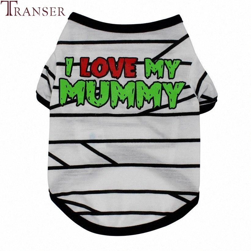 Transer Pet vestiti del cane i love my mommy Striped Dog Shirt Pet Tees Doggie Cani di piccola taglia Animali capi di alimentazione 71205 Taim #