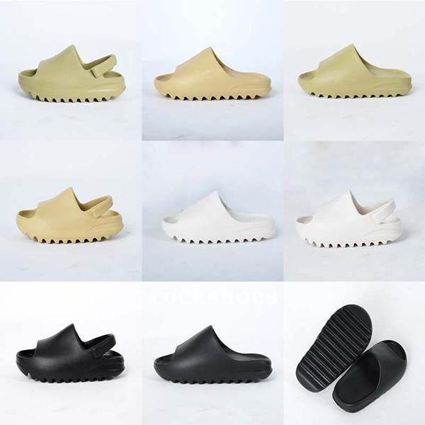 Crianças Chinelos sapatos de crianças Foam Runner Kanye West Slides Sandals Resina óssea Terra Brown deserto praia de areia da criança Chinelo Bebé menina