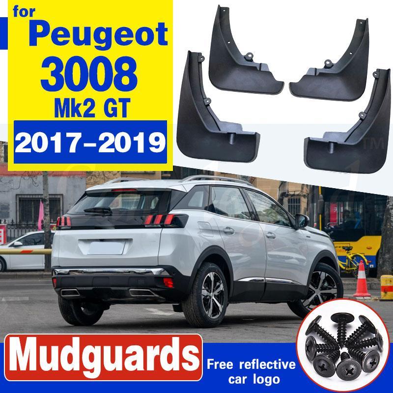 Pour Peugeot 3008 Mk2 GT 2017 2018 2019 4pcs / set Moulé Splash boue Rabats Guards - avant