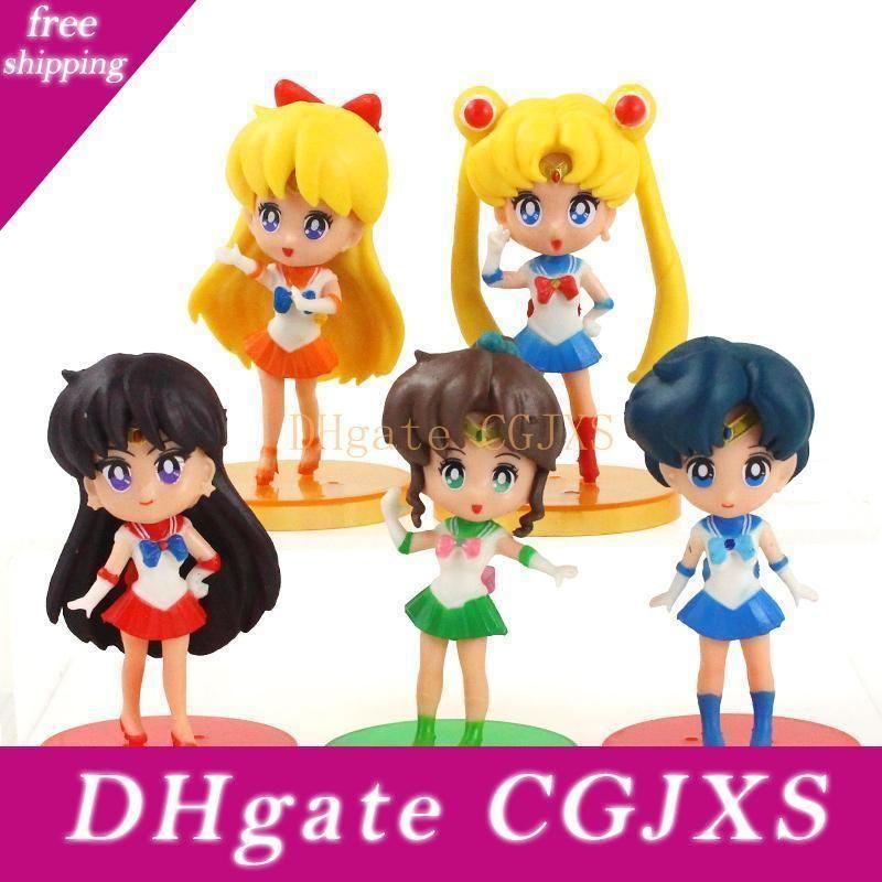 5pcs /Set Sailor Moon Figures Tsukino Usagi Sailor Anime Pvc Model Dolls Toys Creative Collection Gift For Children