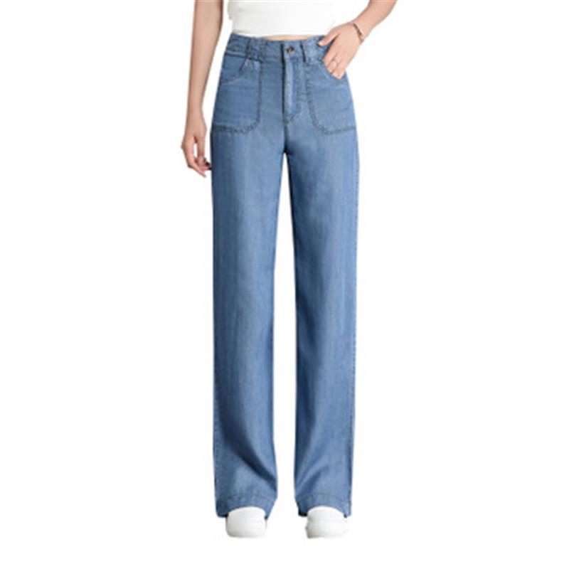 Nueva largos pantalones vaqueros de cintura alta pantalones pantalones de las mujeres azules pantalones anchos de la pierna Moda delgado pantalones vaqueros ocasionales de las mujeres atractivo rasgado por
