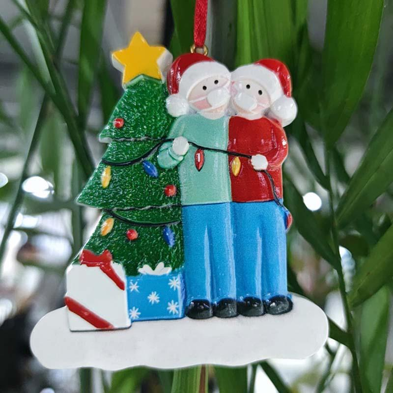 2020 DIY Lucky family Quarantine Christmas ornament Cheapest Christmas tree decoration PVC Face Mask Snowman Pendant China wholesale