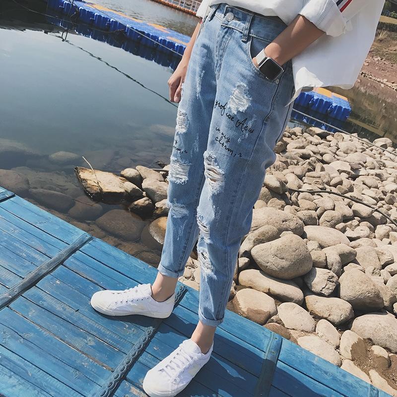 yWChP Sommer dünnen Bettler Loch-Piercing feste Hosen Jeans und Jeans Herren-Mode koreanischen Harlan Leggings Englisch gestickter knöchellangen Pfanne