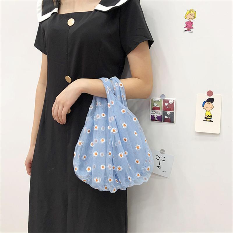 Transparente Primavera Mulheres Tote pequeno Malha saco de pano Daisy bordado Bolsa alta qualidade eco frutas saco para meninas